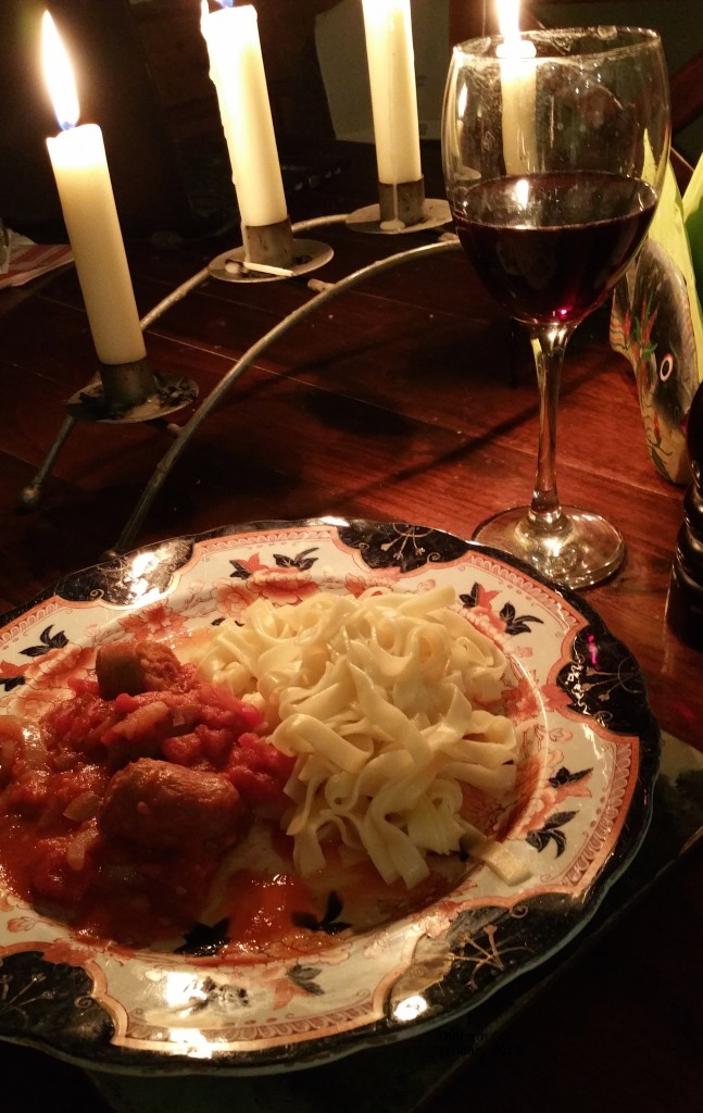 Delicious Mexican pasta dish with Irish sausages and of course, a glass of wine
