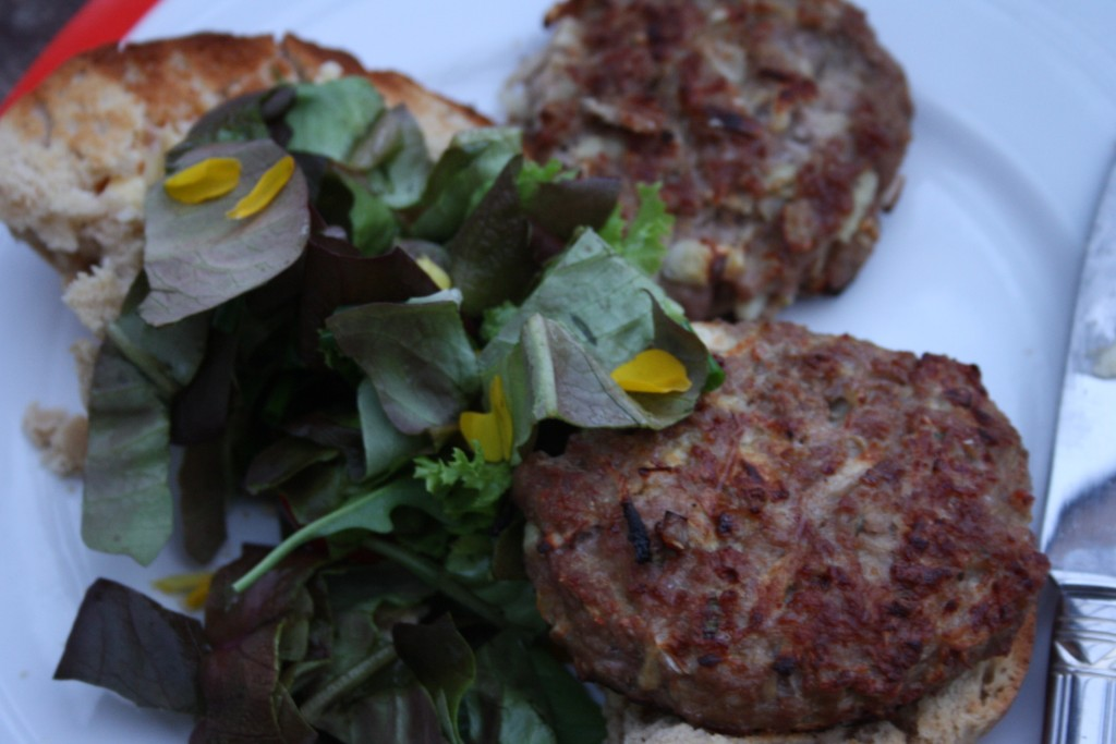 Irish Pork Burgers with salad